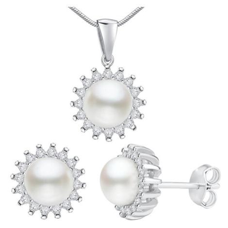 Silvego Stříbrný set VERA s pravou perlou LPS1166 (náušnice, přívěsek)