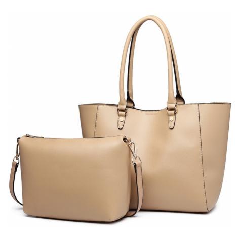 Béžový dámský elegantní kabelkový set 2v1 Zamantha Lulu Bags