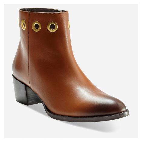 Blancheporte Kotníkové kožené boty s kovovými očky tmavě béžová