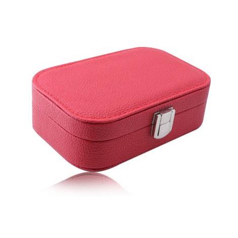 Červená cestovní šperkovnice - koženka, lesklá kovová přezka Šperky eshop