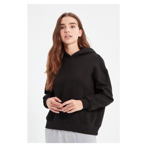 Trendyol Black Rib Detail Basic Raised Knitted Thick Sweatshirt