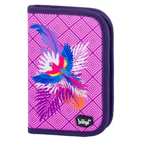 Zipový školní penál pro holky s motivem papouška Sloane Baagl