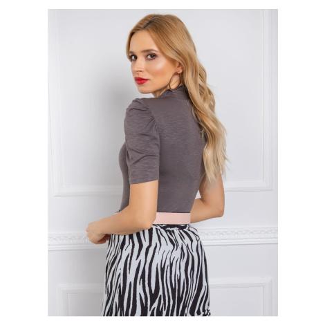 RUE PARIS Gray turtleneck blouse Fashionhunters