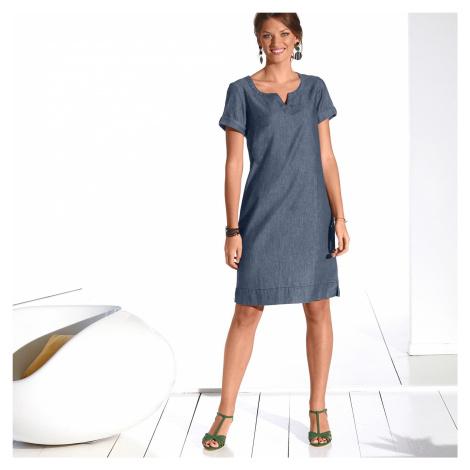 Blancheporte Džínové šaty s krátkými rukávy modrá
