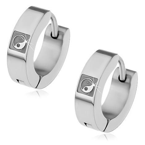 Náušnice z oceli 316L stříbrné barvy, vyrytý symbol JIN-JANG Šperky eshop