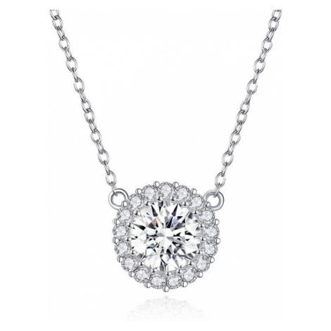 Linda's Jewelry Stříbrný náhrdelník se zirkony Shiny Circle INH047