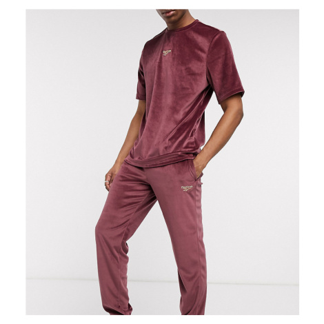 Reebok velour joggers in maroon exclusive to asos-Red