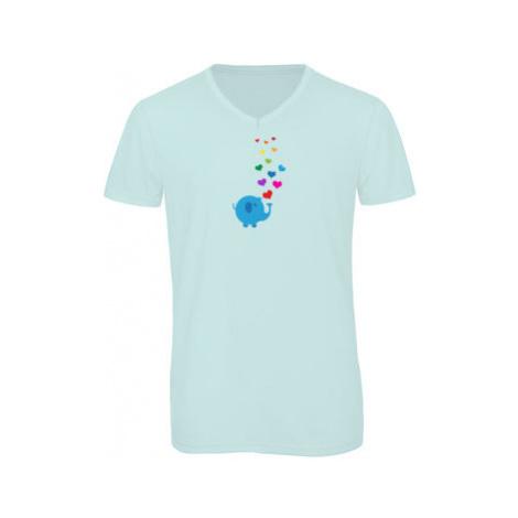 Pánské triko s výstřihem do V Slon a srdíčka