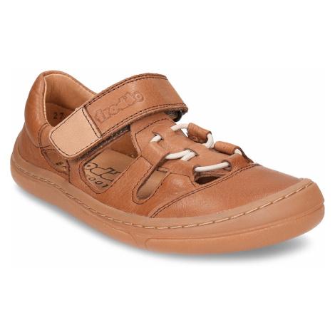 Hnědé dětské kožené sandály na suchý zip Froddo