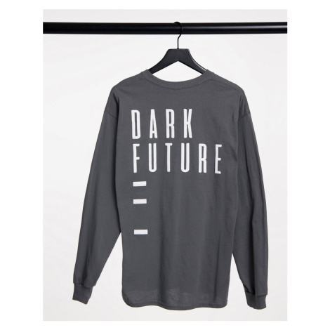 ASOS Dark Future long sleeve t-shirt in grey with back print-Black