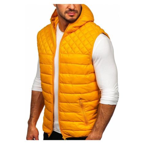 Kamelová pánská prošívaná vesta s kapucí Bolf HDL88003 J.STYLE
