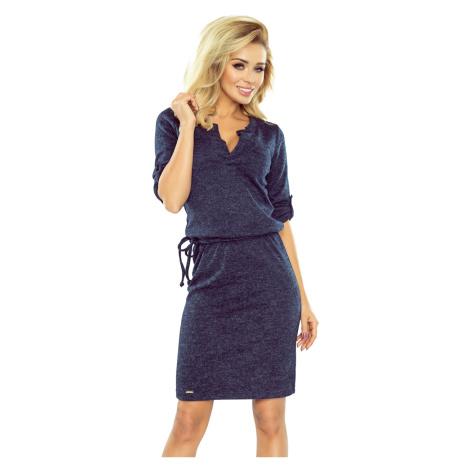 161-8 Tmavě modré melanžové svetříkové šaty AGATA s límečkem NUMOCO