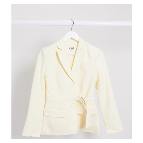 4th + Reckless Petite exclusive blazer with belt in cream