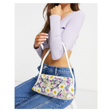 ASOS DESIGN 90s shoulder bag with pressed flower print-Blue