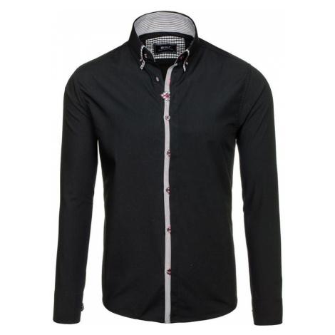 Černá pánská elegantní košile s dlouhým rukávem Bolf 6949