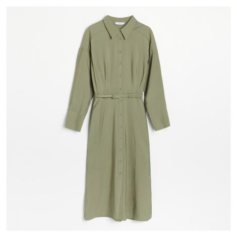 Reserved - Košilové šaty s páskem - Khaki