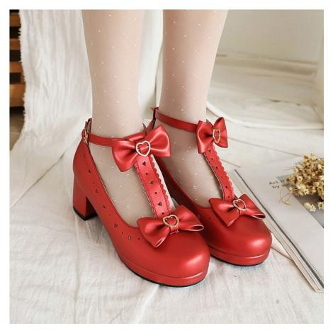 Kožené lodičky s mašlemi a srdíčkami svatební boty plesové baleríny