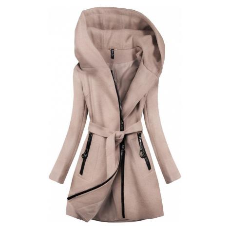 Krátký kabát s kapucí (2703) béžová