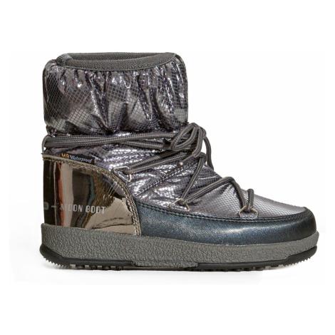 Boty Moon Boot JR GIRL LOW NYLON PREMIUM WP stříbrná