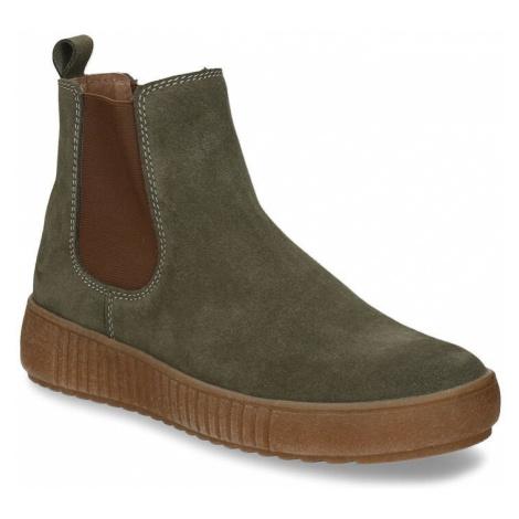 Zelená dámská kožená kotníková obuv Baťa