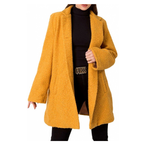 Tmavě žlutý dámský teddy kabátek BASIC