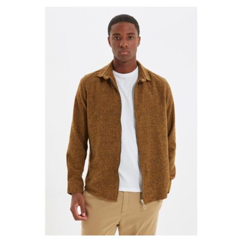 Trendyol Camel Men's Zippered Flannel Slim Fit Shirt