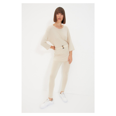 Trendyol Beige 2-Piece Knitted Knitted Bottom-Top Set