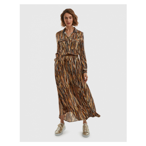 Šaty La Martina Woman Long Twill Printed Dress - Hnědá