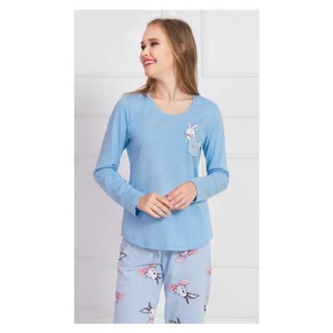 Dámské pyžamo dlouhé Vienetta Secret Králík v kapse   modrá