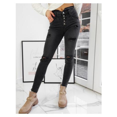 Tmavě šedé dámské džíny s vysokým pasem UY0715 BASIC