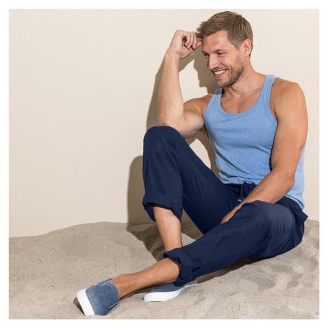 Blancheporte Pohodlné plátěné kalhoty modrá