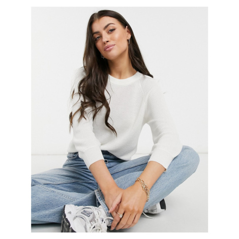 Vero Moda jumper with cropped sleeves in white