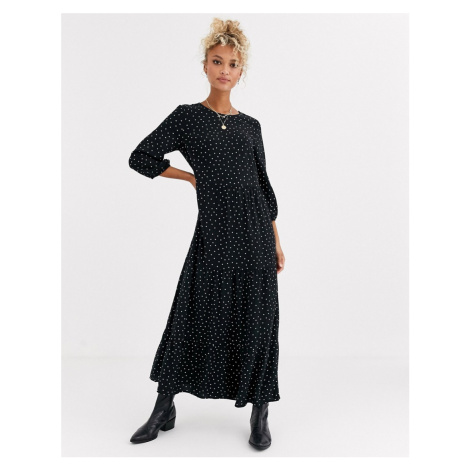 New Look tiered midaxi smock dress in polka dot-Black