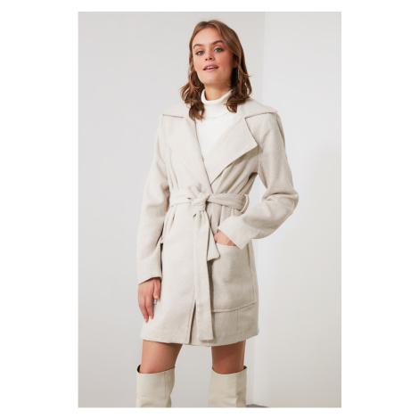 Trendyol Beige Belt Woolly Cachet Coat