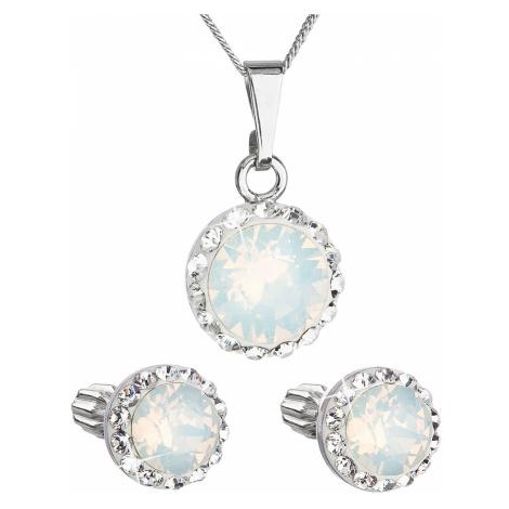 Sada šperků s krystaly Swarovski náušnice, řetízek a přívěšek bílé opálové kulaté 39352.7 Victum
