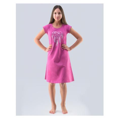 GINA Dívčí noční košilka 29000-DFELMB vínová-stříbrná