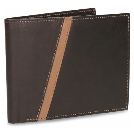 Hnědá pánská kožená peněženka s prošitím Baťa