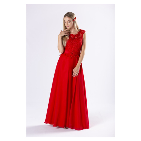 elegant maxi dress with a guipure top with sequins and a corset binding on the back Ptakmoda