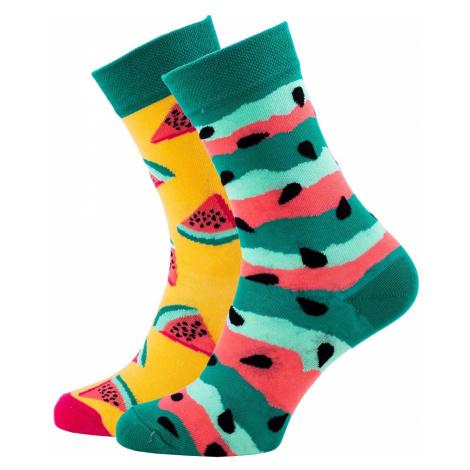 Veselé vzorované ponožky Watermelon Splash zelené Many Mornings