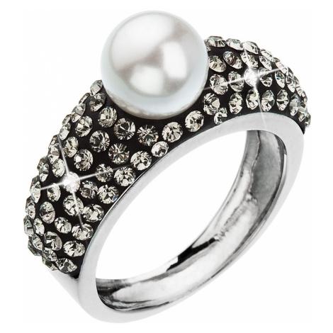 Stříbrný prsten s krystaly Swarovski bílá šedá 35032.3 Victum