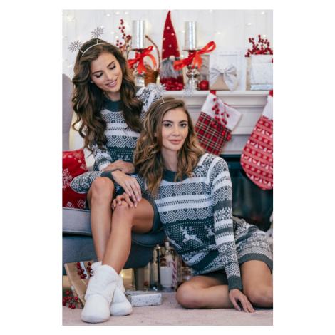 Dámské vánoční svetrové šaty F857 Fobya
