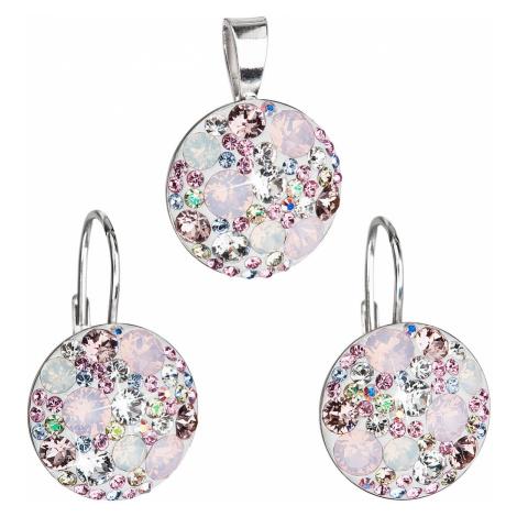 Sada šperků s krystaly Swarovski náušnice a přívěsek růžové kulaté 39117.3 Victum