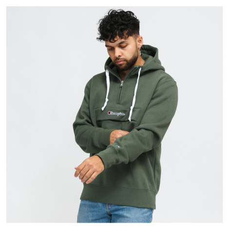Champion Half Zip Hooded Sweatshirt olivová