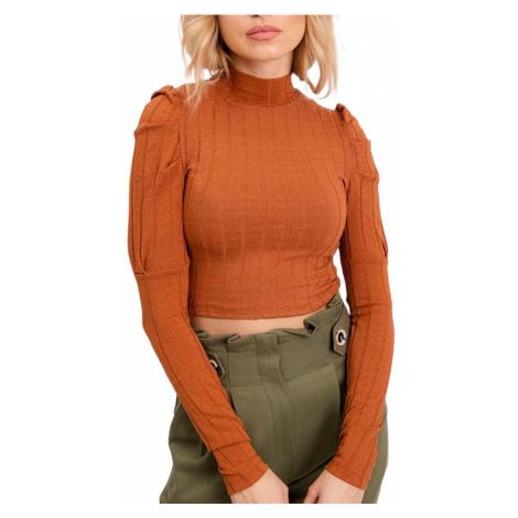 Dámské tmavě oranžové tričko se stojáčkem