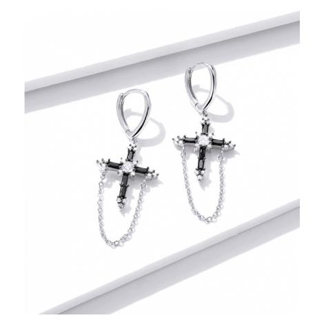 Masivní stříbrné náušnice křížek s řetízky