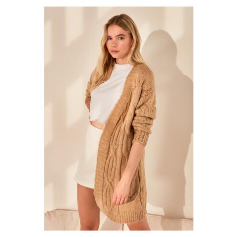 Trendyol Camel Knitted Detailed Knitwear Cardigan