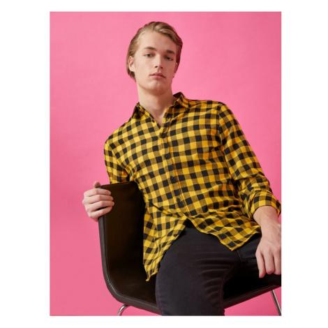 Koton Men's Yellow Checked Long Sleeve Classic Collar Shirt