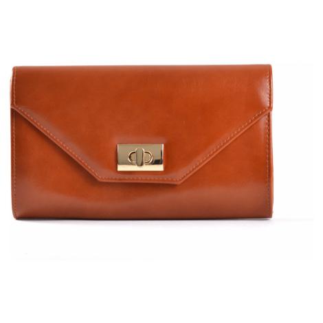 Společenská kabelka - psaníčko s klopnou syntetická rezavá hnědá, 26 x 5 x 15 (IT17-SHD606-13SYN