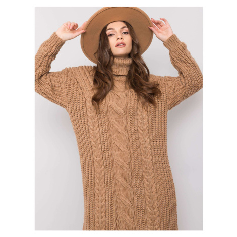 Camel knitted dress with turtleneck Fashionhunters