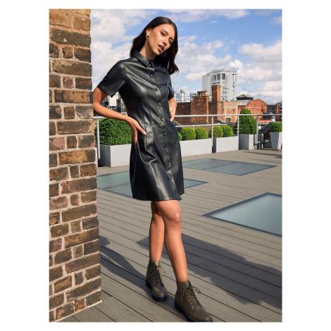 Černé koženkové košilové šaty Dorothy Perkins